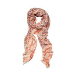 Women's San Diego Hat Company Woven Mosaic Scarf with Border BSS1730 Coral