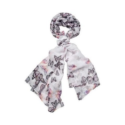 Women's San Diego Hat Company Woven Scattered Butterfly Print Scarf BSS1735 Pink
