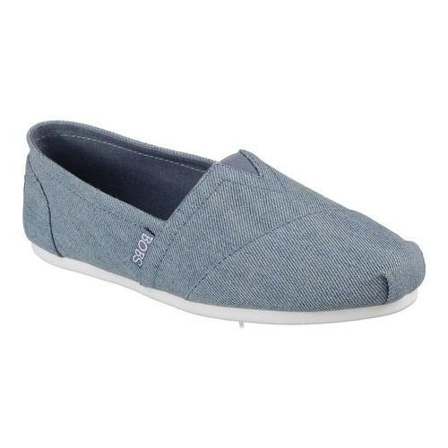 Women's Skechers BOBS Plush Blue Blossom Alpargata Denim