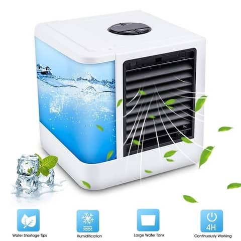 Portable Air Conditioner Personal Evaporative Air Cooler Purifier Humidifier Desktop Cooling Fan - White
