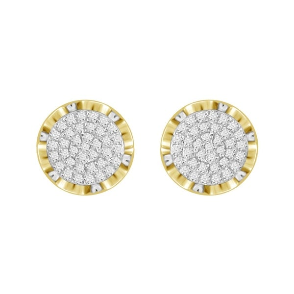 060b61939 Shop 1/6 cttw Round Natural Diamond Round Crown Unisex Stud Earrings 10K  Yellow Gold - Free Shipping Today - Overstock - 22902494