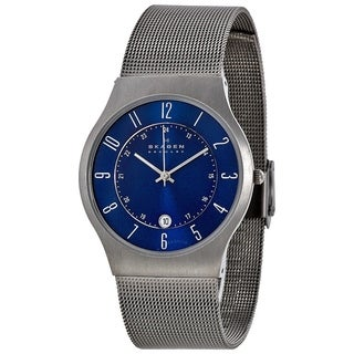 Skagen Men's 233XLTTN Grenen Blue Dial Stainless Steel Mesh Bracelet Watch