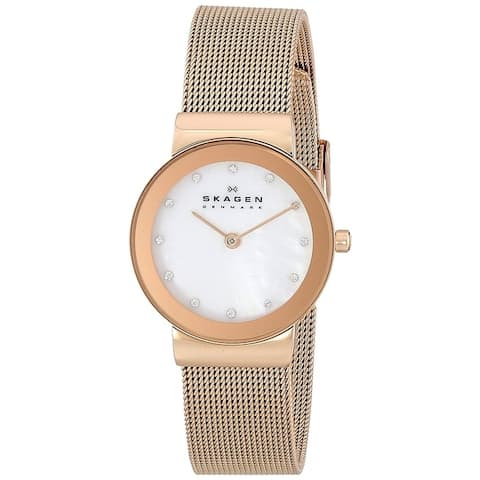 Skagen Women's 358SRRD Freja Mother Of Pearl Dial Rose Gold Stainless Steel Mesh Bracelet Watch