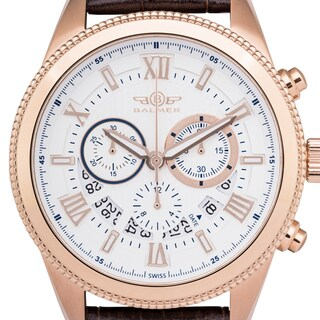 Balmer 'E-Type' Men's Swiss Quartz Chronograph Stainless Steel and Genuine Leather Strap Watch 45mm Watch