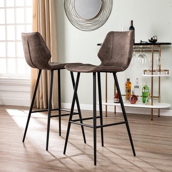 Shop Carbon Loft Samuel Faux Leather Barstools Set Of 2