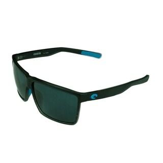 Costa Del Mar Rincon Sunglasses Shiny Black Frame w/ Green Mirror Polarized Lens - Smoke