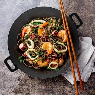 Cast Iron Wok-14 Inches Pre-Seasoned, Flat Bottom Cookware with Handles by Classic Cuisine