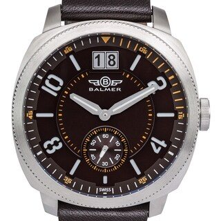 Balmer 'Stratos' Men's Swiss Quartz Stainless Steel and Genuine Leather Strap Watch 46mm Watch
