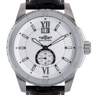 Balmer 'DB9' Men's Swiss Quartz Stainless Steel and Genuine Leather Strap Watch 45mm Watch