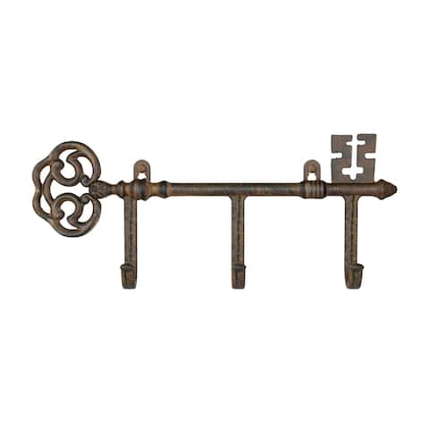 Decorative Skeleton Key Design Hooks-3-Pronged Cast Iron Shabby Chic Rustic Wall Mount Hooks by Lavish Home