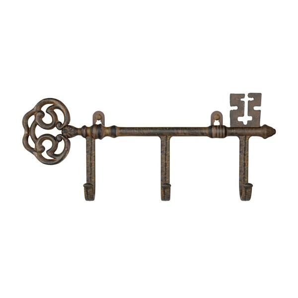 Decorative Skeleton Key Design Hooks-3-Pronged Cast Iron Shabby Chic Rustic Wall Mount Hooks by Lavish Home
