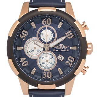 Balmer 'Mulsanne' Men's Swiss Quartz Chronograph Stainless Steel and Genuine Leather Strap Watch 48mm