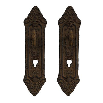 Decorative Key in Lock Design Hooks-Cast Iron Shabby Chic Rustic Wall Mount Hooks by Lavish Home (Set of 2)