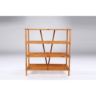 Wooden Organizer 4 Tier Shelf Honey Brown