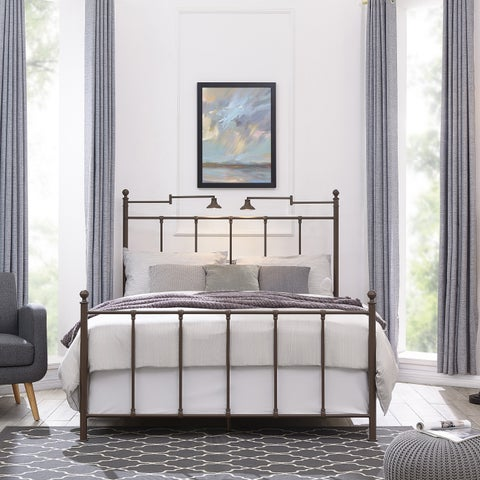 Handy Living Marseille King Bronze Metal Bed with Task Lighting