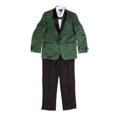 Boys Suit Green 1 Button Satin Shawl Collar 5 Pieces Classic Fit Suits