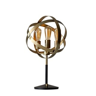 Adesso Antique Brass and Black Donovan Table Lamp