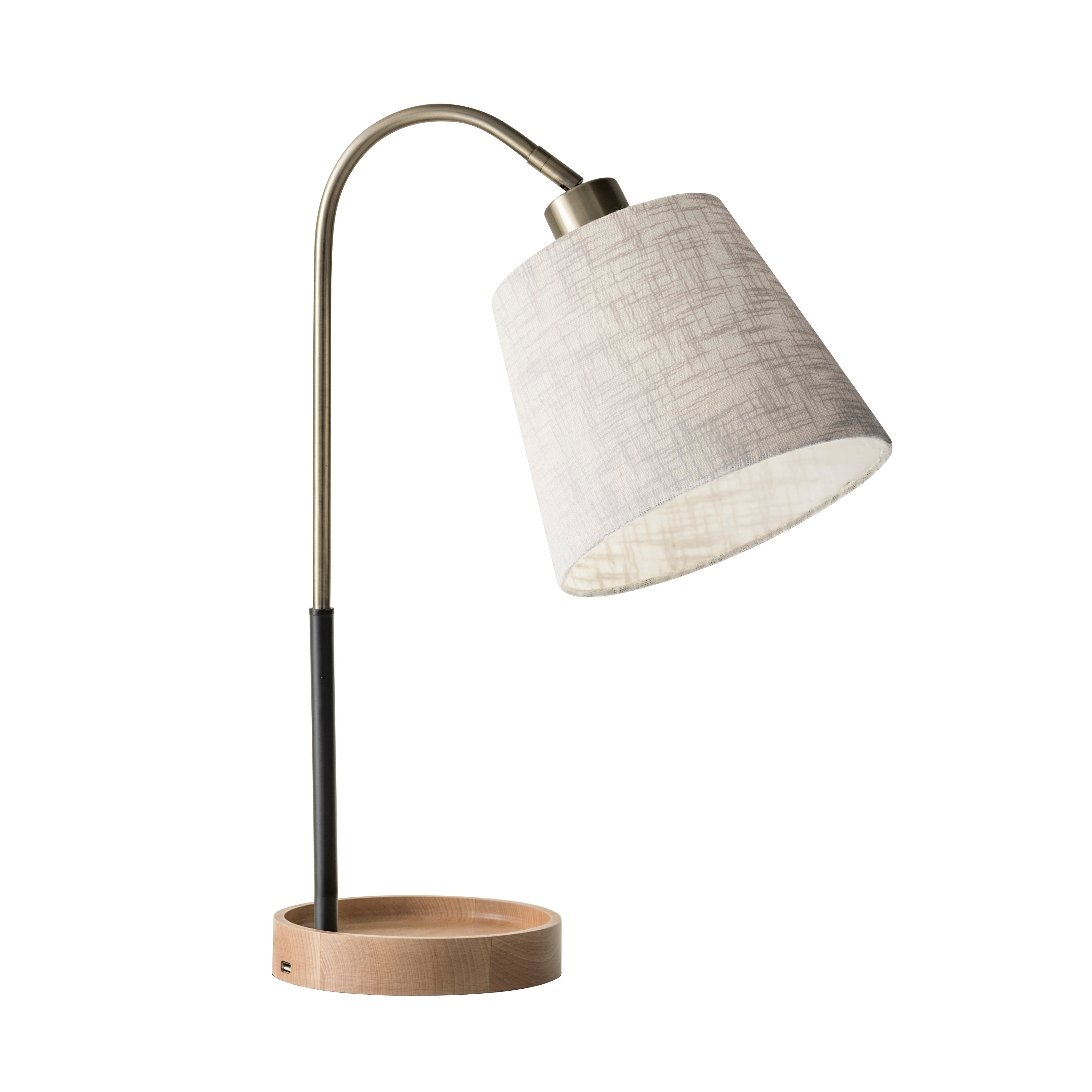 Adesso Jeffrey Black And Antique Brass With Natural Rubber Wood Usb Table Lamp