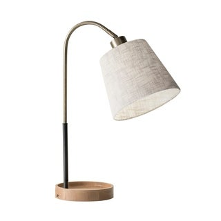 Adesso Jeffrey Black and Antique Brass with Natural Rubber Wood Table Lamp and USB Port