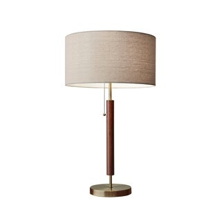 Adesso Hamilton Antique Brass and Walnut Table Lamp