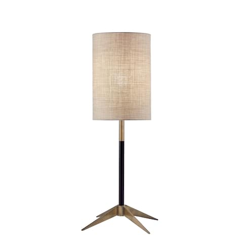 Adesso Matte Black and Antique Brass Davis Table Lamp