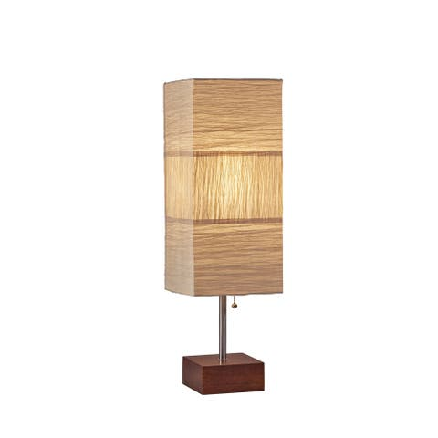 Adesso Sahara Brushed Steel and Walnut Rubberwood Table Lamp