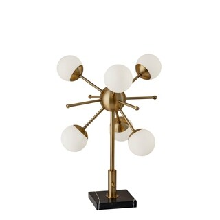 Adesso Antique Brass and Black Marble Doppler LED Table Lamp