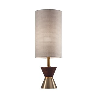 Adesso Antique Brass and Walnut Rubberwood Carmen Table Lamp