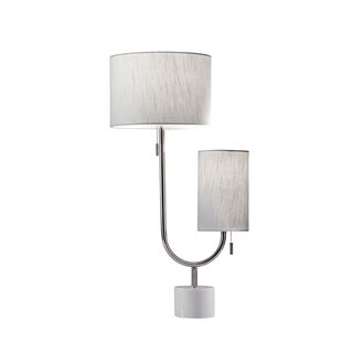 Adesso Sloan Polished Nickel and White Marble Table Lamp - Polished Nickel