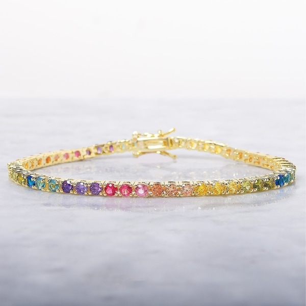 f4627928d71f8c Shop Radiant Rainbow Round Cut 3mm Tennis Bracelet - Yellow Gold Plated -  Free Shipping On Orders Over $45 - Overstock - 22903290