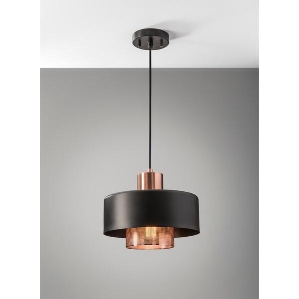 Merveilleux Adesso Bradbury Black And Copper Pendant Light