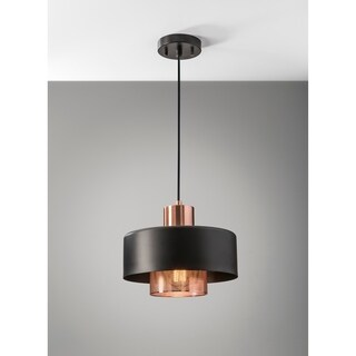 Adesso Bradbury Black and Copper Pendant Light