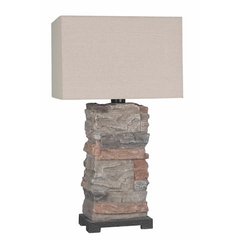 Lamps Per Se 29- inch Multi Slate Concrete Indoor/Outdoor Table Lamp