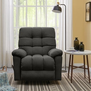 ProLounger Grey Velvet Rocker Recliner Chair