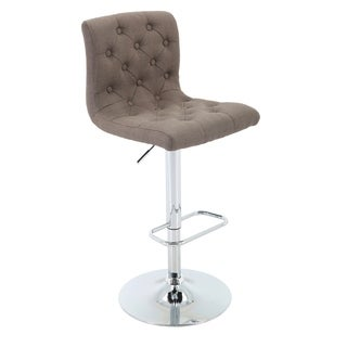 Brage Living Adjustable-Height Chrome Metal/Fabric Tufted Upholstered Barstool with Footrest