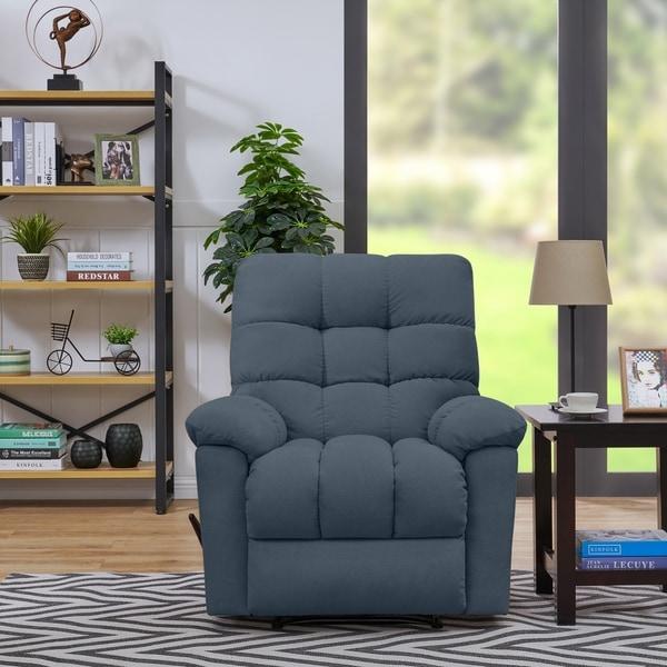 Copper Grove Gramsh Medium Blue Velvet Wall Hugger Recliner Chair