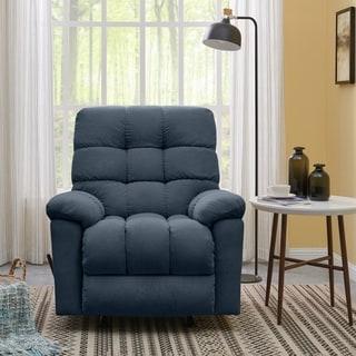 Copper Grove Gramsh Medium Blue Velvet Rocker Recliner Chair
