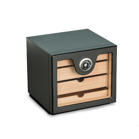"""Carbon Fiber"" Matt Finish Wood Humidor w/ Hygrometer"