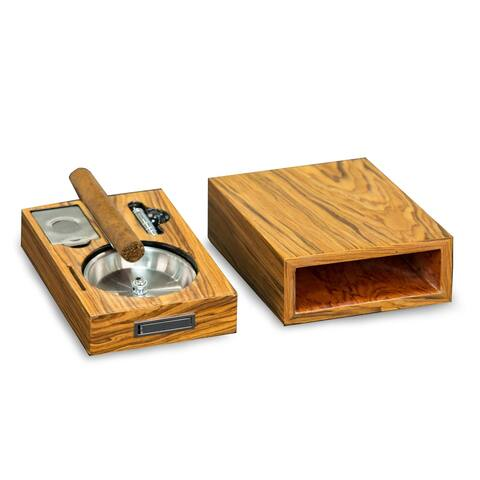 """Cigar Ashtray/Cutter/Punch """"Olive Wood"""""""