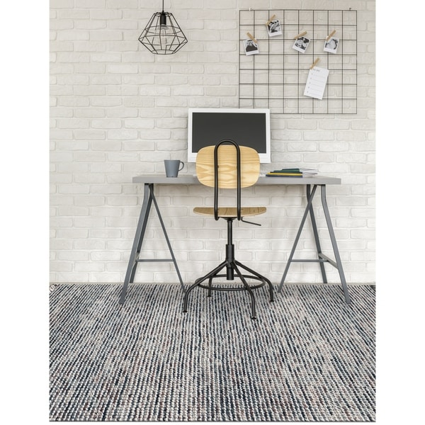 Cableknit Casual Hand-Woven Gray Rug - 8' x 10'
