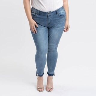 Gigi Allure Plus Size Dark Wash Unpicked Hem Mid-Rise Skinny Jeans