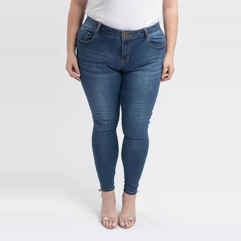 Gigi Allure Plus Size Dark Stone Wash Mid-Rise Skinny Jeans