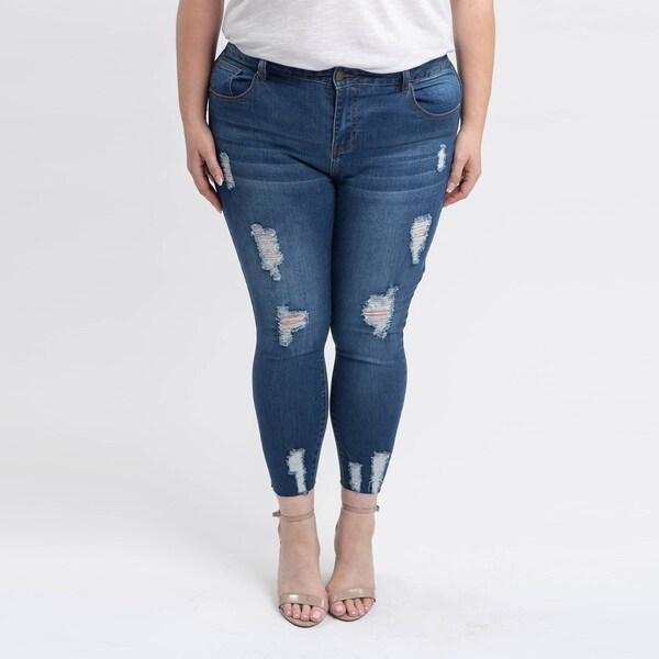 555369536ca7f Shop Gigi Allure Plus Size Medium Stone Wash Mid-Rise Skinny Jeans ...