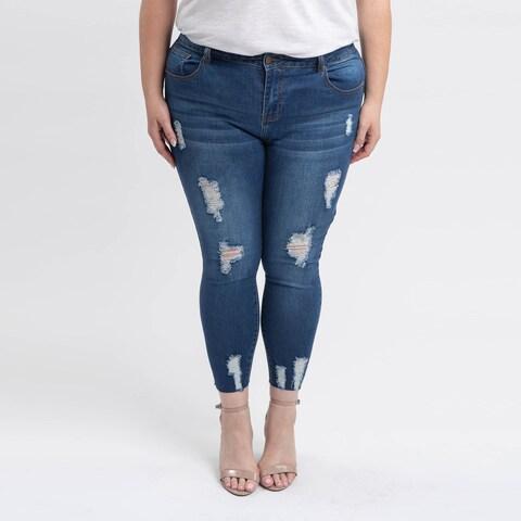 Gigi Allure Plus Size Medium Stone Wash Mid-Rise Skinny Jeans