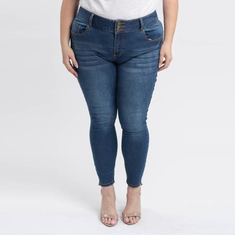 Gigi Allure Plus Size Dark Wash 3-Button Waistband Mid-Rise Skinny Jeans