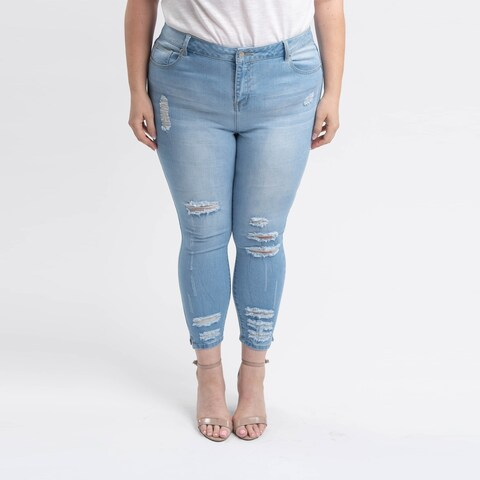 Gigi Allure Plus Size Light Stone Wash High-Rise Cropped Skinny Jeans