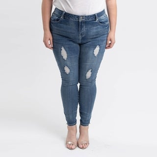 Gigi Allure Plus Size Medium Wash High-Rise Button Split Waistband Skinny Jeans