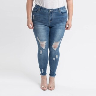 Gigi Allure Plus Size Dark Stone Wash High-Rise Ripped Skinny Jeans