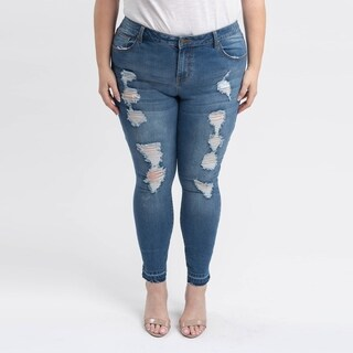 Gigi Allure Plus Size Dark Stone Wash Ripped Mid-Rise Skinny Jeans