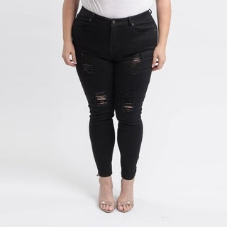 Gigi Allure Plus Size Black High-Rise Laced Up Skinny Jeans